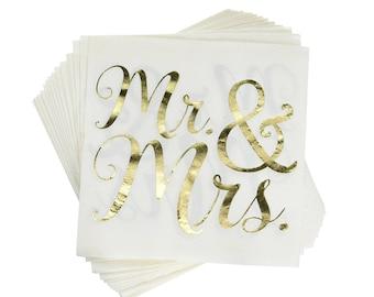 Mr and Mrs Napkins - Wedding Napkins - Wedding Decorations - Foil Stamped Napkins - Rehearsal Dinner - I Do - Cocktail Napkins - Bar Napkins