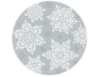 Snowflake Party Plates - Winter Onederland, Snowflake Birthday, Winter Wonderland First Birthday, Snowflake Party Supplies, Snowflake Plates