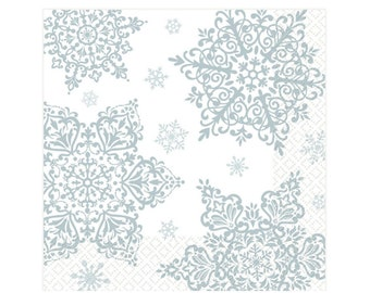 Snowflake Party Napkins - Winter Onederland First Birthday, Winter Wonderland Baby Shower, Baby it's Cold Outside, Snowflake Party Supplies