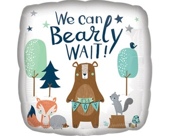 Bear Baby Shower Balloon - Woodland Animals Baby Shower, Woodland Baby Shower, Bear Party Supplies, Woodland Balloon, Boy Baby Shower Decor