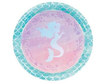 "9"" Mermaid Plates  - Mermaid Bachelorette, Mermaid Party Supplies, Mermaid Birthday, Iridescent Party, Paper Plates"