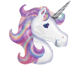 "32"" Unicorn Balloon - Unicorn Party - Unicorn Birthday - Pastel Rainbow - First Birthday - Party Supplies - Baby Shower - Party Decorations"