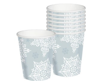 Silver Snowflake Party Cups - Snowflake Birthday, Winter Onederland, Princess Party, Snowflake Party Supplies, Winter Party, Snowflake Cups