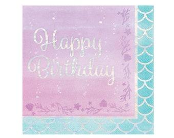 Mermaid Birthday Napkins - Mermaid Party, Iridescent Party, Mermaid Party Supplies, Mermaid Napkins