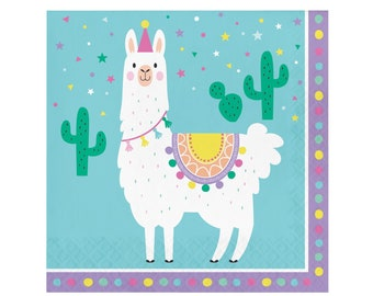 Llama Party Luncheon Napkins - Llama Party Supplies, Llama Birthday, Cactus Party, Llama Baby Shower, Party Plates
