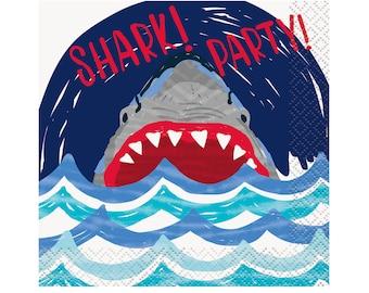 Shark Napkins - Shark Party Napkins, Shark Birthday Napkins, Shark Party Supplies, Shark Party Decor, Shark Theme Swimming Party, Pool Party