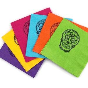 Mexican Holiday La Calavera Catrina Day of the Dead Set of 4 Embroidered Cloth Dinner Napkins Dia de Los Muertos SUGAR SKULL NAPKINS