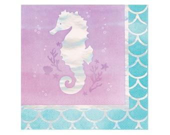 Seahorse Napkins - Mermaid Party Supplies, Mermaid Birthday, Mermaid Baby Shower, Party Napkins