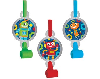 Robot Party Favors - Robot Birthday Favors, Robot Party Supplies, Robot Party Decorations, Boy Birthday Idea, Robotics Party, Party Blowouts