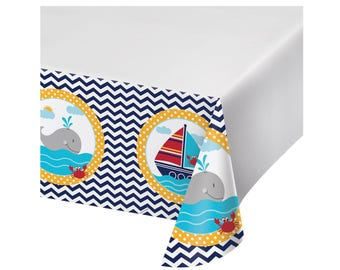 Perfect Nautical Tablecloth   Nautical Party   Ahoy Baby   Nautical Birthday    Nautical Baby Shower   Anchor Birthday   Nautical Decorations   Decor