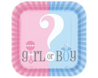 Gender Reveal Party Plates - Team Girl Team Boy, Gender Reveal Baby Shower, Girl or Boy, He or She, Team Blue Team Pink, Baby Announcement
