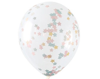 5 Star Confetti Balloons - Twinkle Twinkle Little Star Baby Shower, Twinkle Twinkle Little Star First Birthday, Gender Reveal Party Balloons