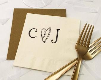 Rustic Wedding Napkins - Personalized Napkins, Cocktail Napkins, Wedding Napkins Personalized, Wedding Cocktail Napkins, Monogram Napkins