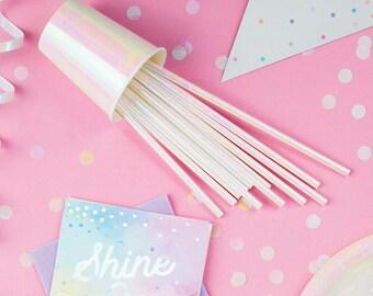 Iridescent Party Straws - Iridescent Party Supplies - Iridescent Party Decorations - Iridescent Straws - Mermaid Party - Unicorn Party Decor