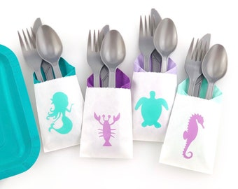 Cutlery Bags - Mermaid Baby Shower, Mermaid Party, Mermaid Birthday, Mermaid Party Favors, Mermaid Treat Bags, Mermaid Bachelorette Party
