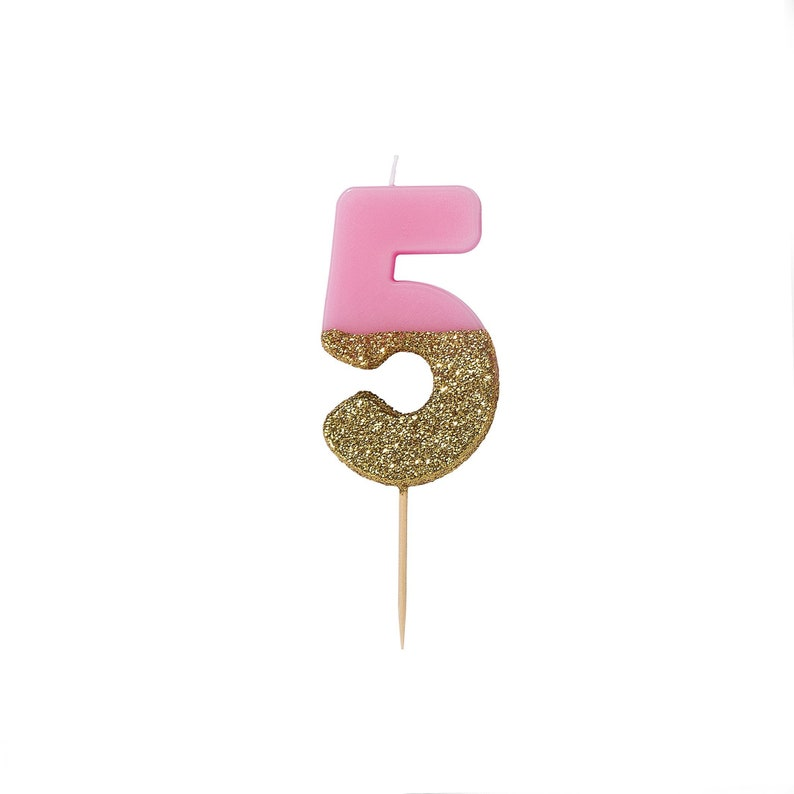 Number Five Candle Age 5 Birthday Pink And Gold