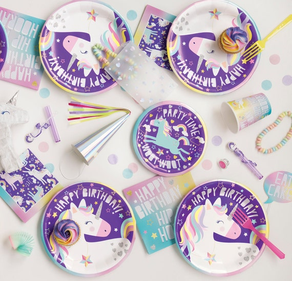 Unicorn Cake Plates Birthday Party Purple