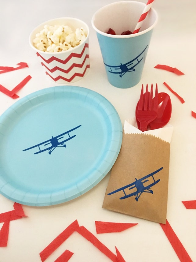 Cutlery Bags Pilot Airplane Party Vintage Airplane Airplane