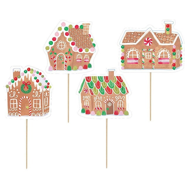 Gingerbread Party Picks - Holiday Party Decor - Christmas Party Supplies - Gingerbread House Party - Holiday Food Pick - Holiday Party Decor