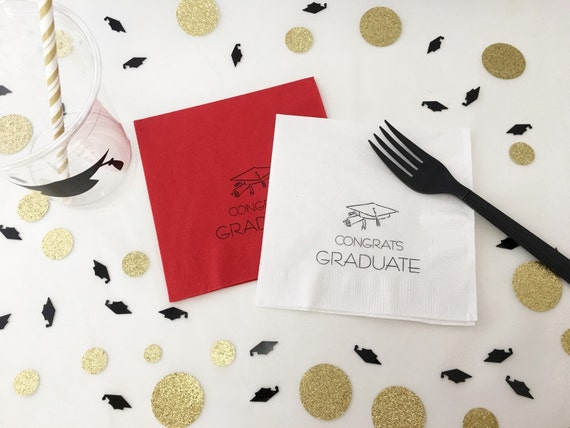 Graduation Napkins Class Of 2017 Cap And Gown High Etsy