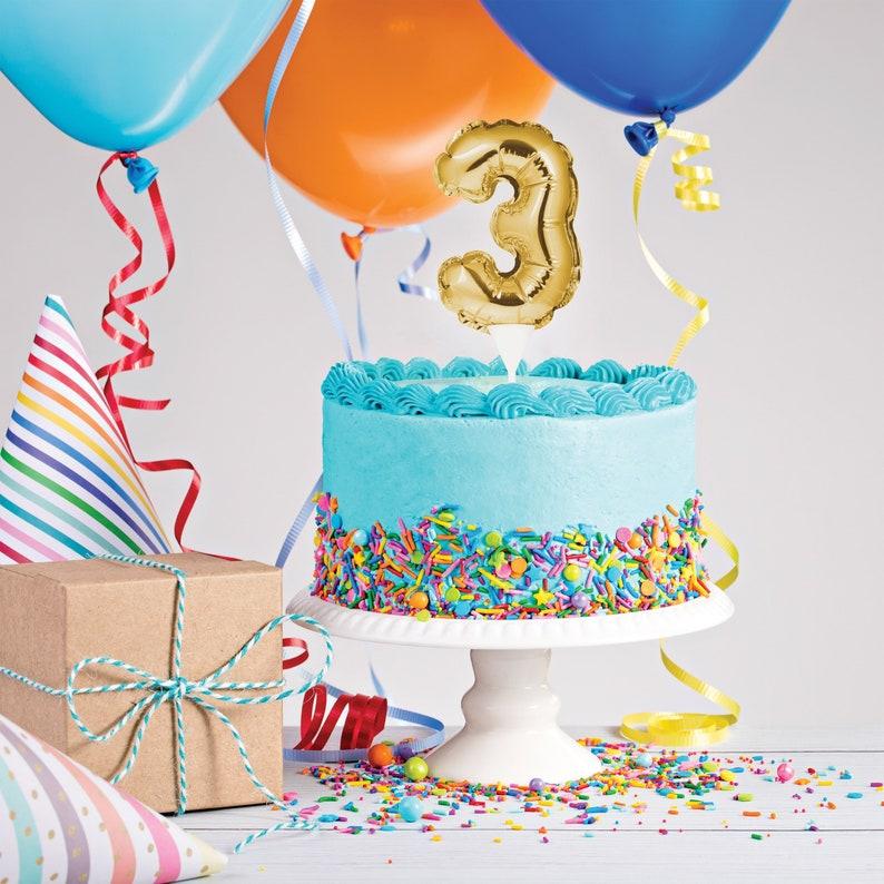 Balloon Cake Topper Gold 3 Third Birthday 3rd