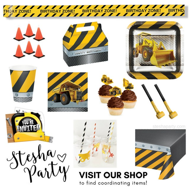 Construction Cups Construction Party Favors Construction Baby