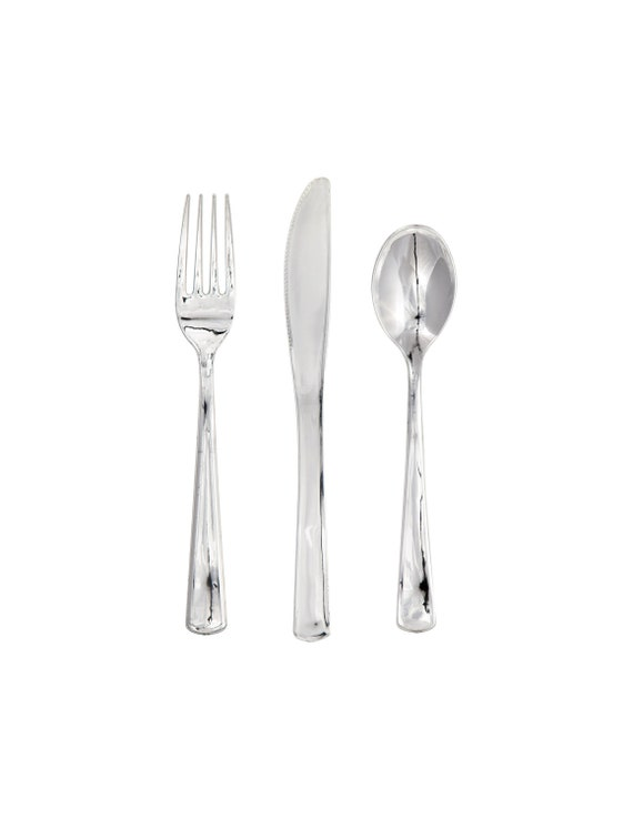 silver plastic cutlery plastic silverware silver party etsy