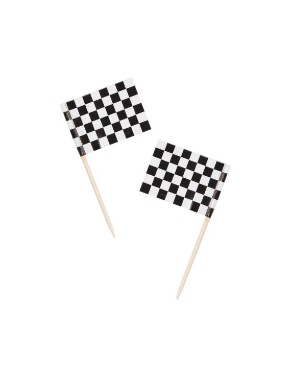 50 Racing Party Toppers Checkered Flag Food Pick Cupcake Etsy