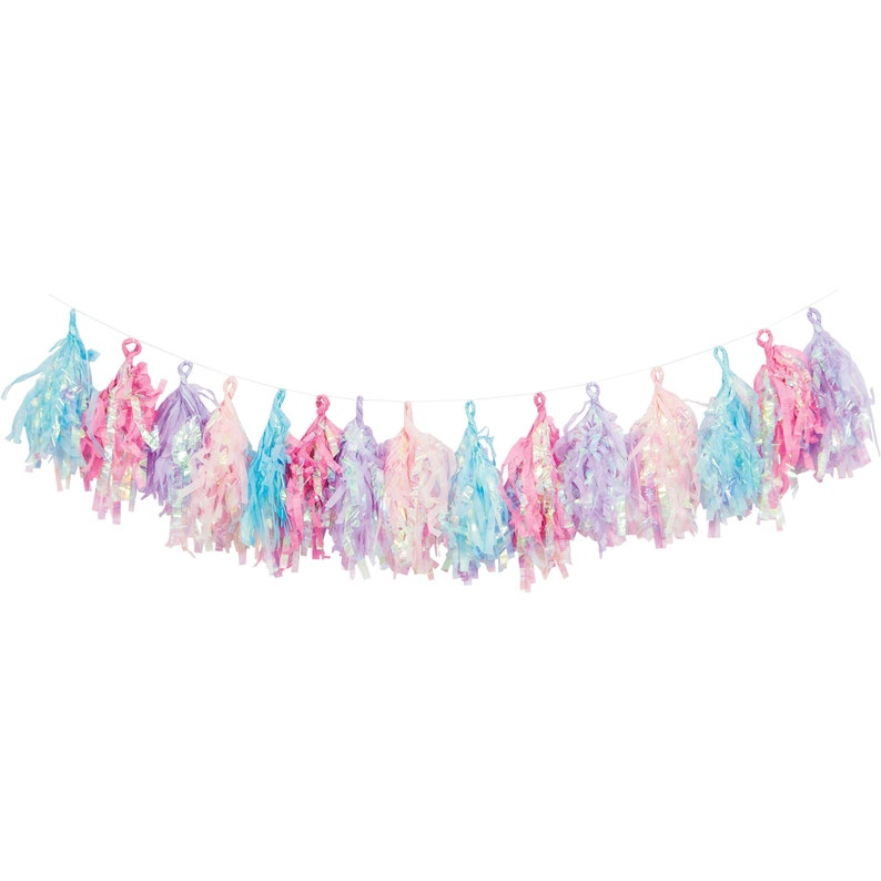 Iridescent Tissue Garland - Iridescent Party Decorations, Iridescent Party  Banner, Mermaid Party Supplies, Unicorn Party, Pastel Party