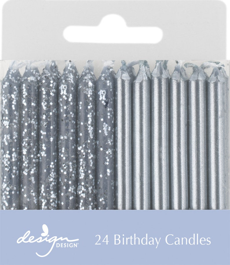 Silver Glitter Party Candles Birthday Cake