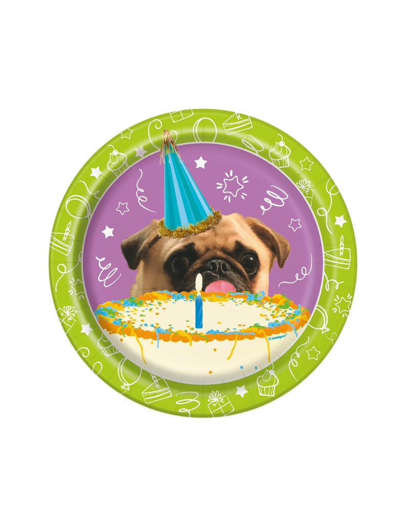 7 Pug Plates Puppy Party Supplies Pug Birthday Party Etsy