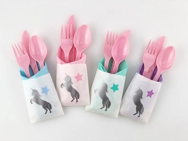 Silver Unicorn Cutlery Bags