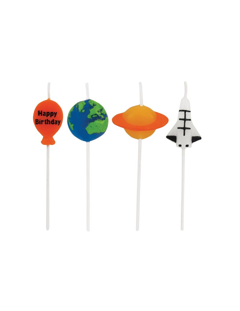 Galaxy Birthday Supplies Outer Space Planet Party Space Party Candles Alien Birthday Cupcake Toppers Rocket Birthday Candles