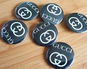 abccf13d1d513 Gucci and Versace Pinback Buttons   Gucci Logo Hip Hop Designer Accessories  Pin Badge Lapel Pin