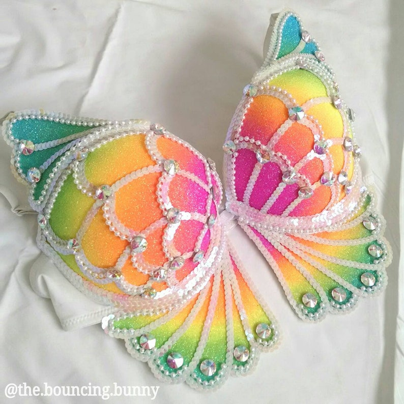 698b2459ff5b8 Rainbow Butterfly Rave Bra EDC Outfit Costume Top Made to