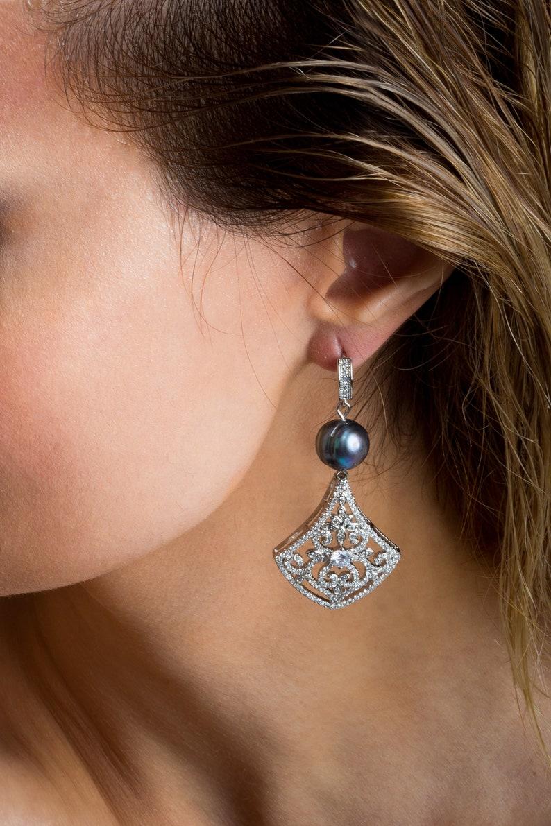 Black Freshwater Pearl Bracelet et Earrings for Women