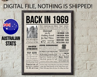 50 Years Ago Birthday Poster What Happened Back In 1969 Australia Personalized Newspaper Page With Photo 50th Gift Idea