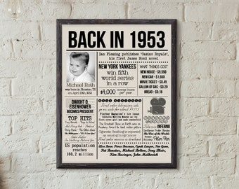 65th Birthday Dad Gift Anniversary History Poster Old Newspaper Photo Board 1953 Fun Fact