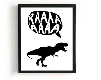 Cute Donosaur Poster, T-Rex Kids Print, Black And White Wall Decor, Scandinavian Children Art, Rawr Poster, Dinosaur Wall Art Childrens Room