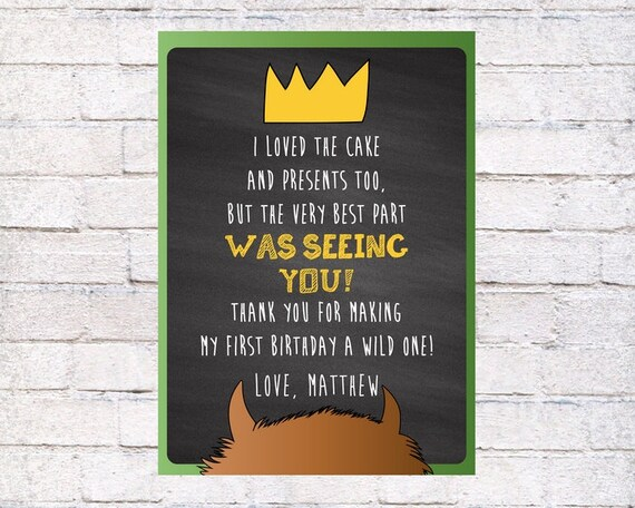 Where The Wild Things Are Thank You Card Wild Things Etsy