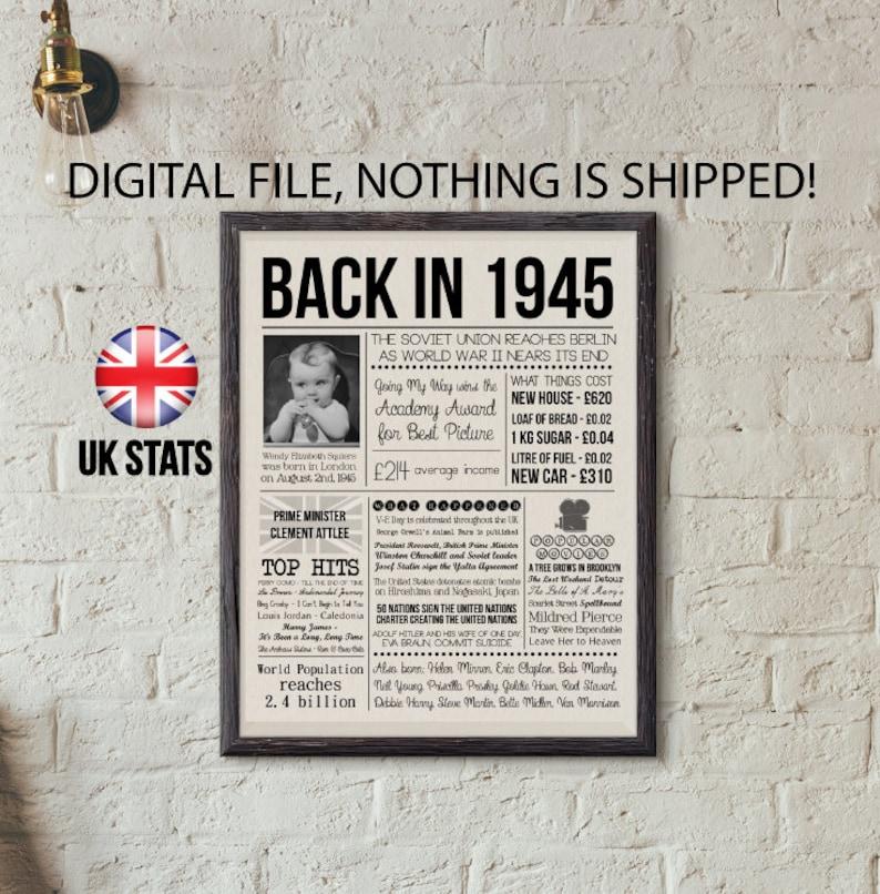 Back In 1945 Poster 75th Birthday Newspaper Personalized Newspaper Birthday Sign Custom 75th Birthday Gift Born In UK in 1945
