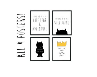 Where the wild things are poster, Wild Rumpus, I'll Eat You Up, downloadable nursery decor, inspirational print for kids, Maurice Sendak