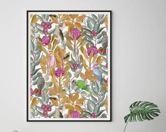Art Print, Australian, Native, Birds, Gum Leaves, Botanical, Watercolor Bird Print, NATIVE WALTZ Purple Haze