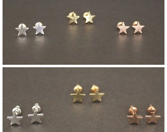 46749eeba Gold. Rose Gold Color Stud. Cute Brushed Star Stud Earrings. Tiny Celestial  Earring. Party Stud. Minimalist Stud. Delicate Stud