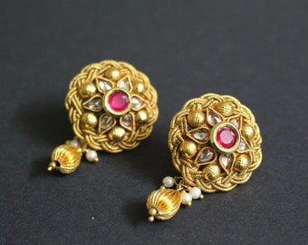 Red Indian Earrings. Indian Stud Earrings. Indian Jewelry. Gold Bollywood Jewelry. Kundan Jewelry. Indian Bridal. Dangle Drop Earrings. Gift