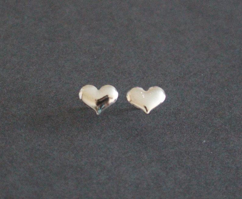 Heart Stud Sterling Silver Earrings Fiance Gift. Romantic Puffy Heart Silver Earrings