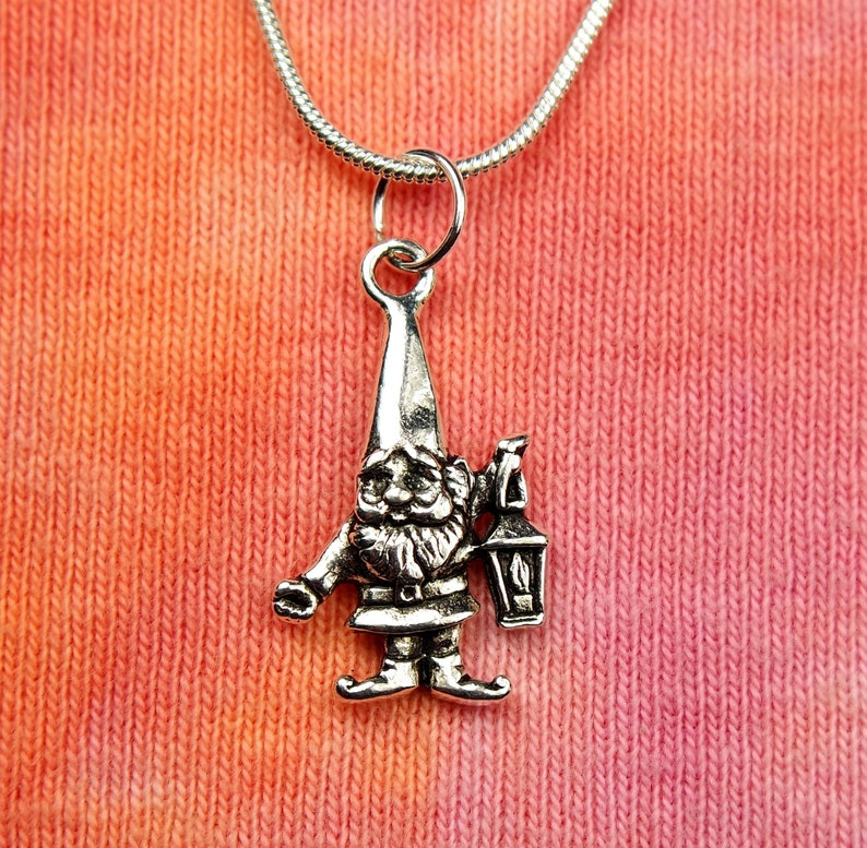 Garden Gnome with Lantern Necklace, Lawn Dwarf, Souble Sided Charm Pendant  Gift Boxed Jewelry for Gardeners, Crazy Fast Shipping