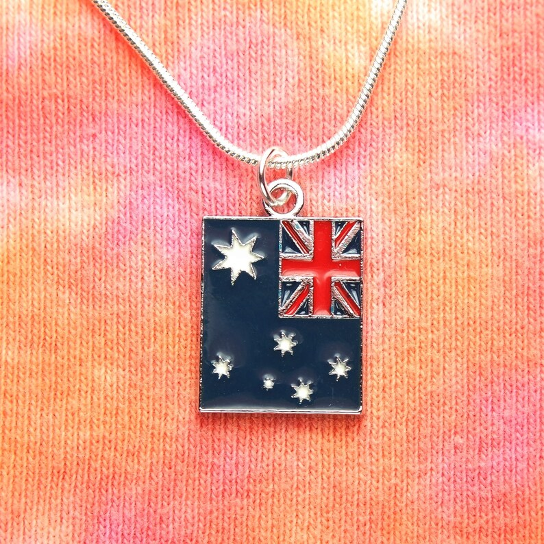 Australia Flag Necklace Australian Country Enamel Flag Charm Pendant On 16 36 Chain Gift Boxed Ready To Ship For Men Or Women