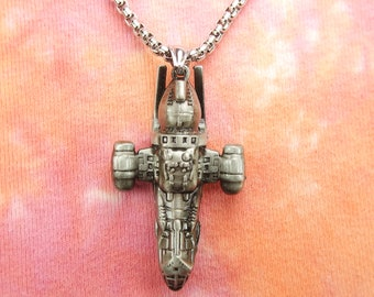 HUGE Serenity Firefly Pendant Necklace Spaceship Mal Reynolds Ship Any Custom Length Long Chain made to order for Men or Women Space Jewelry