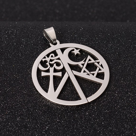 Coexist in Peace Necklace, with Hindu Sanskrit Om Christian Cross Islam  Crescent Moon and Star Jewish Star of David Stainless Pendant Charm